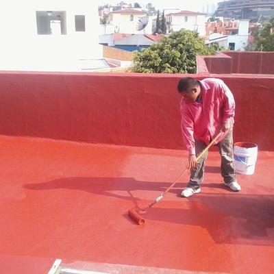 Impermeabilización de 195m² en acrílico color terracota (rojo).
