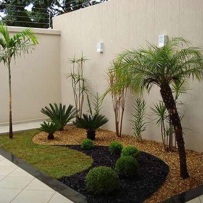 jardin decorado con palmeras