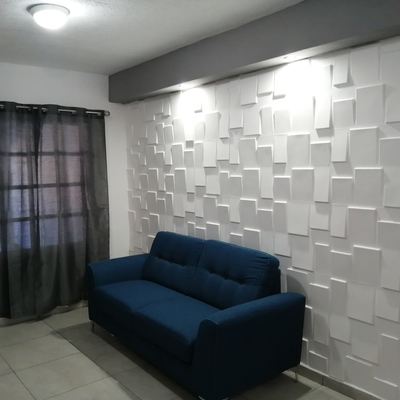 Muro 3D con falso plafón