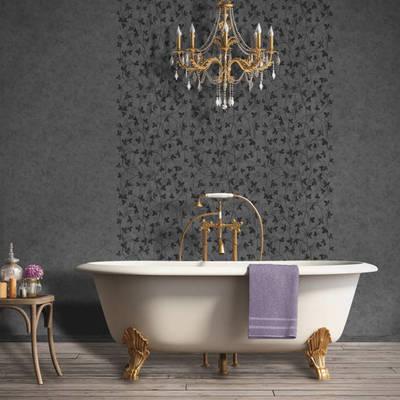 Papel con mariposas en baño negras