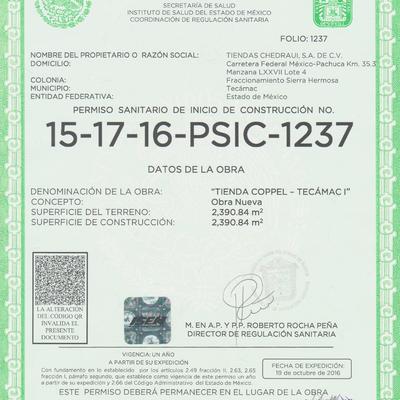 PERMISO SANITARIO DE INICIO DE CONSTRUCCIÓN