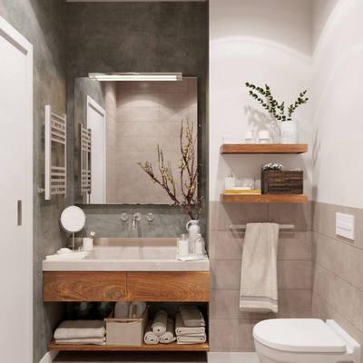 Baño con gabinete de madera y revestimiento de azulejos