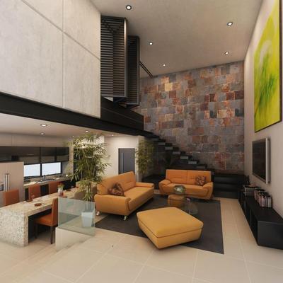 Sala doble altura jerarquizada 3 niveles arriba, concretos aparentes y laca de colores