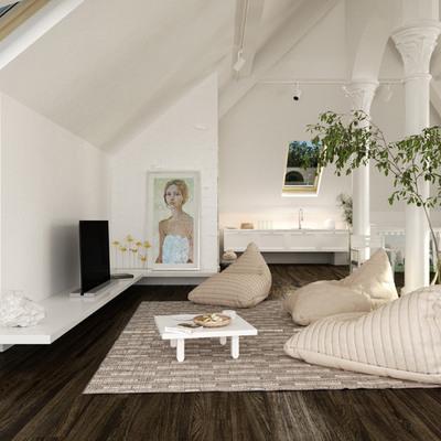 salón blanco con plantas