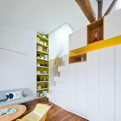 Departamento con dos plantas y vigas de madera
