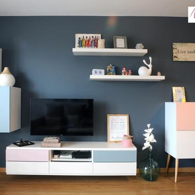 El antes y después de una sala con estilo de 18 m2