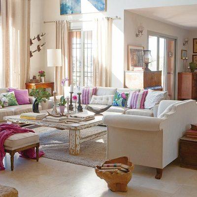 salón en beige y rosa