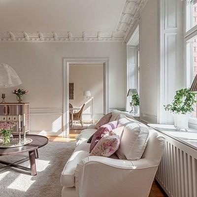 Sala clásica con moldura en techo