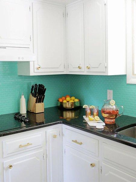 Foto Cocina Con Azulejos Pintados En Azul Aguamarina 403230 - Azulejos-de-cocina-pintados