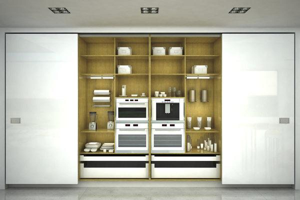 Foto cocina oculta con puertas correderas blancas 138867 habitissimo - Puertas correderas ocultas ...
