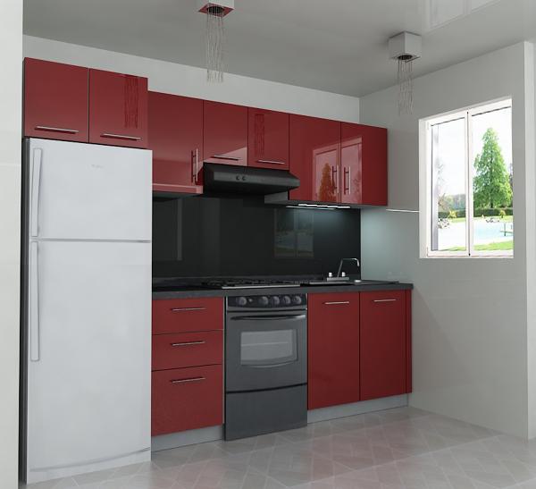 Foto cocineta integral alto brillo de unik muebles for Integral muebles