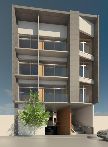 Foto fachada edificio de departamentos de tixi grupo for Modelos de departamentos modernos