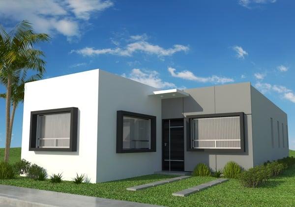 Foto fachada principal casa de 3 recamaras 1 planta de for Casa minimalista 2 plantas