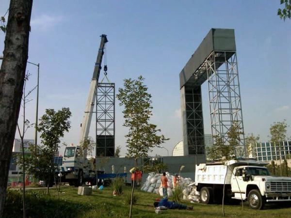 Foto montaje de estructura para jard n vertical de for Estructura para jardin vertical