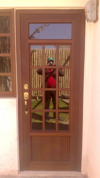 foto puerta de aluminio color madera de dise os y