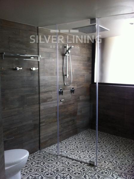 Foto regadera doble plaf n y de extensi n de silver for Duchas minimalistas