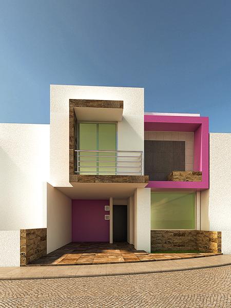 Foto render fachada casa habitacion de for Proyecto casa habitacion minimalista