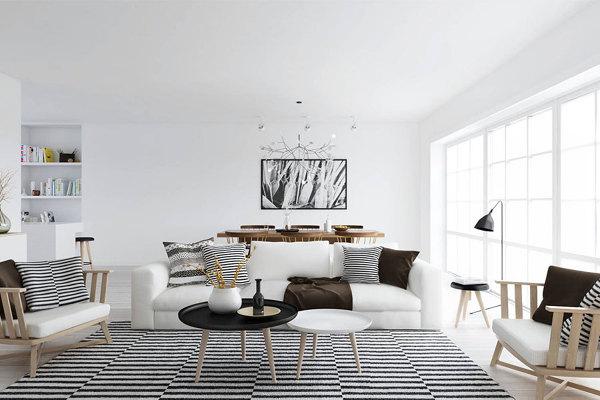 foto: salon-blanco-con-alfombra-a-rayas #136163 - habitissimo