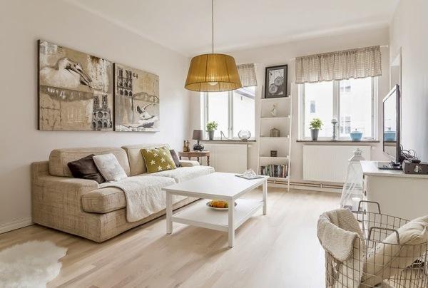 Foto sala estilo n rdico con piso laminado de madera - Piso estilo nordico ...