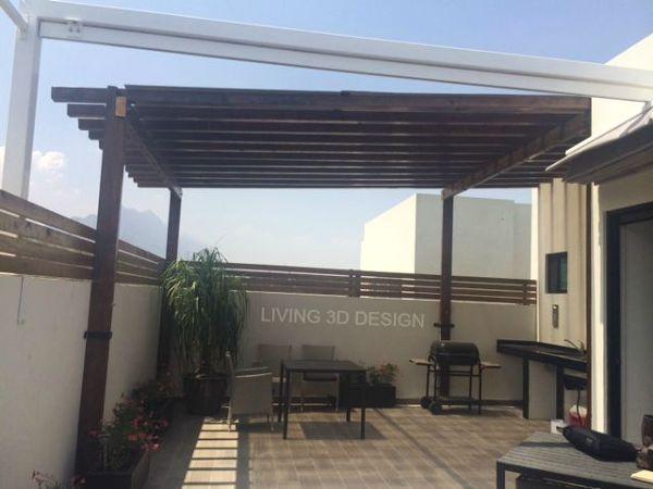 Foto techo vigas de madera y policarbonato de living 3d - Techos con vigas de madera ...