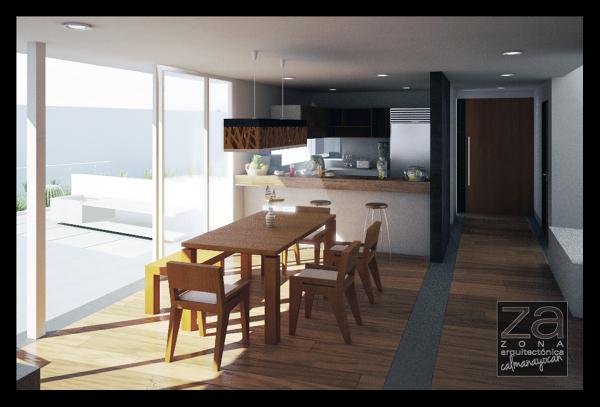 foto vista interior cocina comedor de zona arquitectonica
