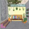 boceto patio con plantas