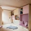 Departamento pequeño con mobiliario de madera