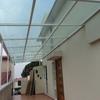 techado de cristal de 6 mm, con estructura de acero cuadriculada