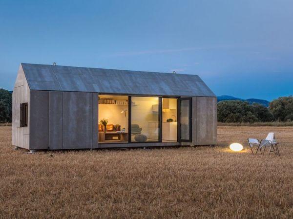 ¿Con qué material se construyó esta casa prefabricada?
