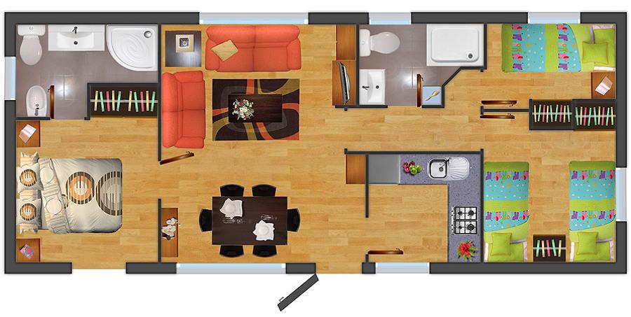 Construir casa prefabricada dos habitaciones 1 1 2 ba os - Catalogo casas prefabricadas ...