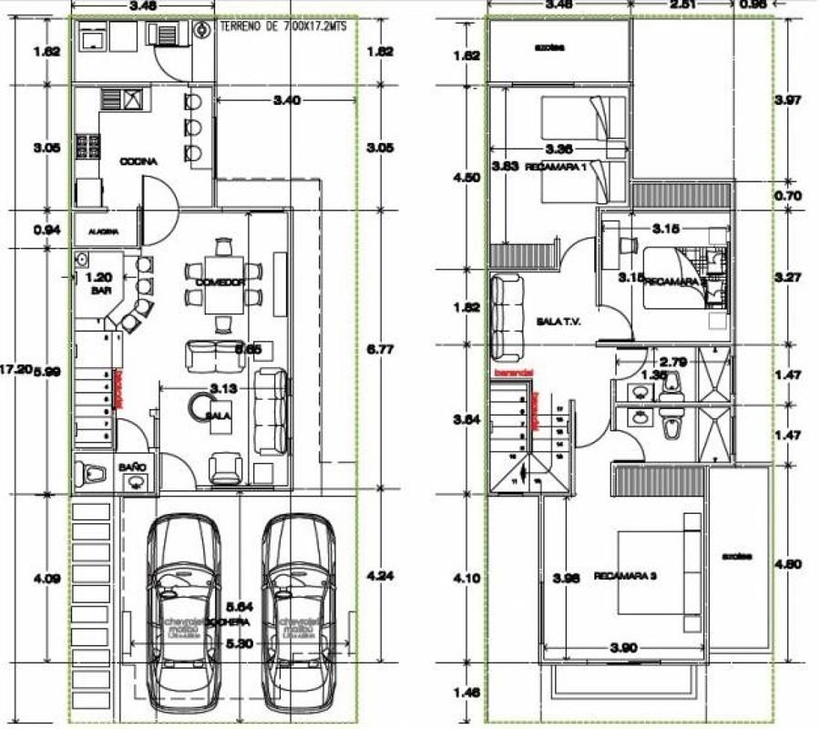 Contruccion de casa en terreno de 8x18 altamira for Casas modernas 3 recamaras