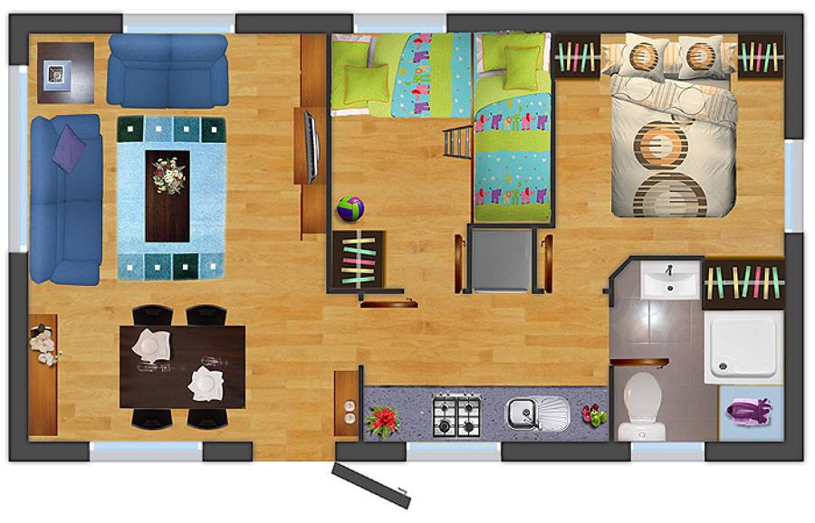 Construir casa prefabricada dos habitaciones 1 1 2 ba os - Construir casa prefabricada ...