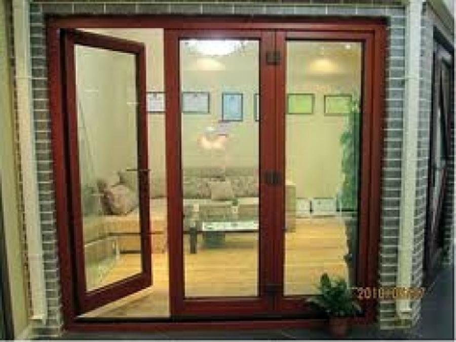 Ventanales puerta y ventanas de aluminio color champ gne for Precio de puertas francesas
