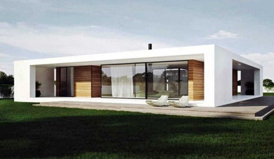 Casa estilo minimalista prefabricada y o construcci n for Fachadas de casas de una sola planta