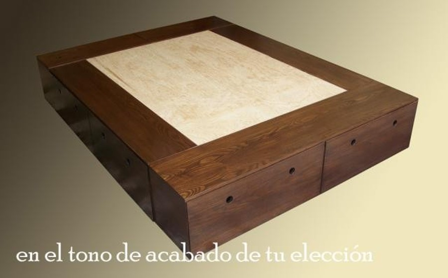 Crear un mueble base cama con amplio espacio de cajones - Bases de camas de madera ...