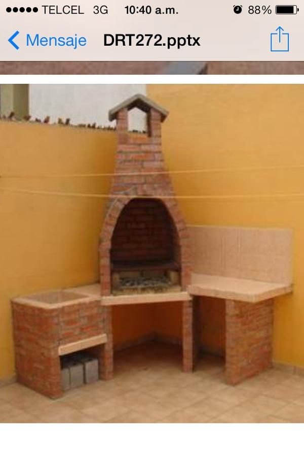 Construcci n de asador en patio saltillo coahuila for Construccion de chimeneas de ladrillo
