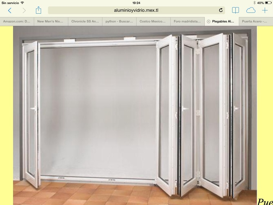 Puerta plegable aluminio vidrio para un claro de 3 10x2 40 - Puertas de cristal abatibles precios ...
