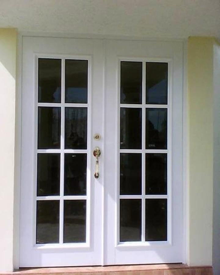 Puerta de dos hojas en aluminio y crista para jardin - Puertas para jardin de aluminio ...