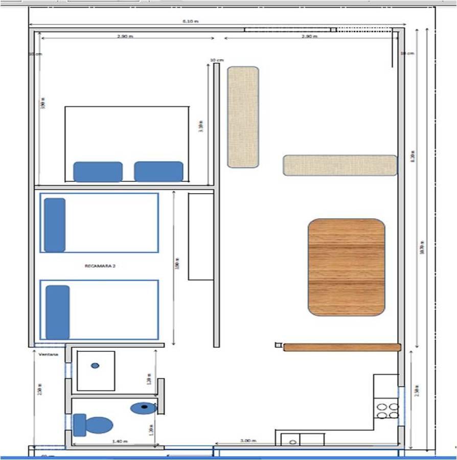 Construir casa de 64 m2 con 2 recamaras 1 ba o de 6 10 for Construir casa precio m2