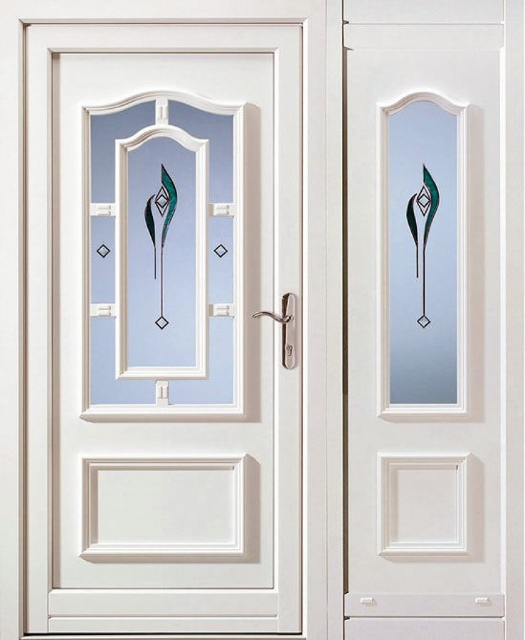 Puertas para baño 1 89x79cm con vidrio con un tulipan al centro ...