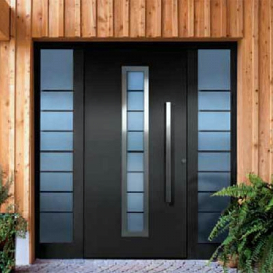 Puerta principal de aluminio gustavo a madero distrito for Fotos de puertas metalicas modernas