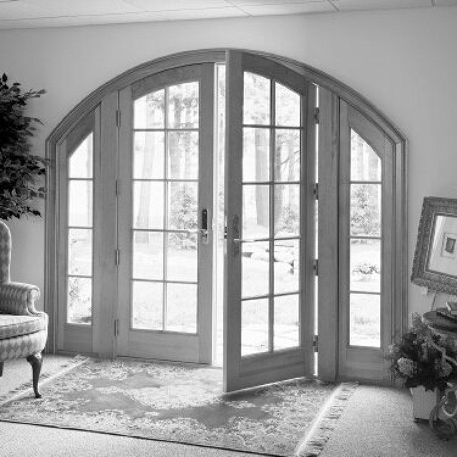 Puerta de aluminio en arco con cristal azcapotzalco for Arcos de madera para puertas