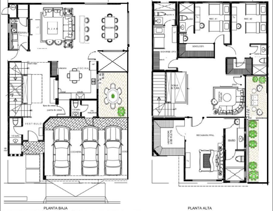 Plano casa 4 habitacion hd 1080p 4k foto for Planos de casas de dos pisos con medidas y fachadas