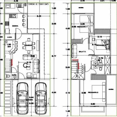 Contruccion de casa en terreno de 8x18 altamira for Medidas de muebles para planos arquitectonicos
