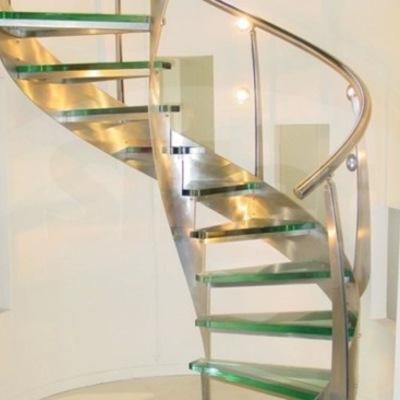 Hacer escalera de cristal templado para interior de casa - Escaleras para interior de casa ...