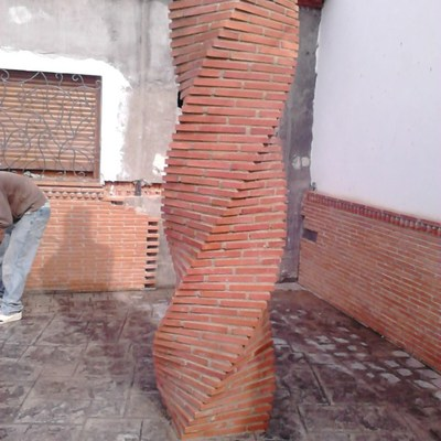 Construir columnas de ladrillo aparente tipo salom nico - Precios de ladrillos para construccion ...