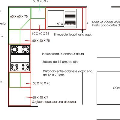 Hacer una cocina integral en l 2 40 m x 3 0m haciendas for Planos para una cocina integral