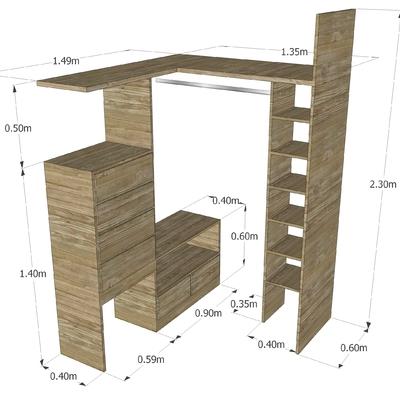 Vestidor cl set de madera en toluca casa blanca metepec for Medidas de zapateras