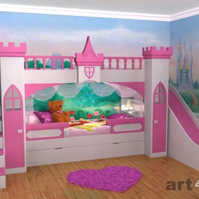 Cama para ni a tipo castillo olivar de los padres for Vinilos para habitaciones de ninas