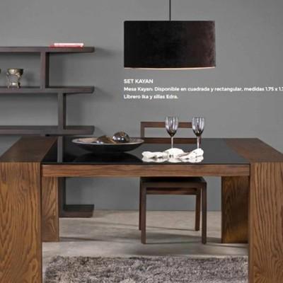 Mesa para comedor de madera con cristal negro - Concepción la Cruz ...
